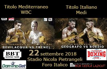 Boxe: Titolo Mediterraneo WBC - Titolo Italiano Medi